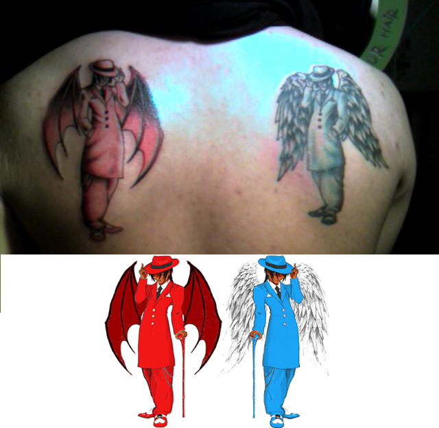 Cool Angel And Devil Tattoo Design On Back
