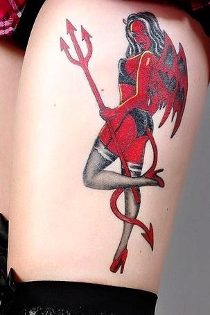a7862e7881677 Devil Girl Tattoo On Thigh