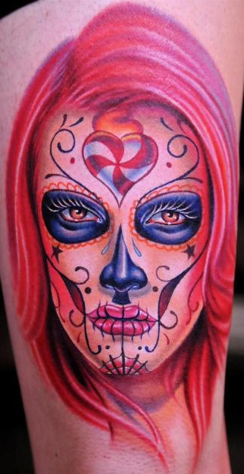 Dia de los muertos devil tattoo on half sleeve for Dia de muertos tattoos