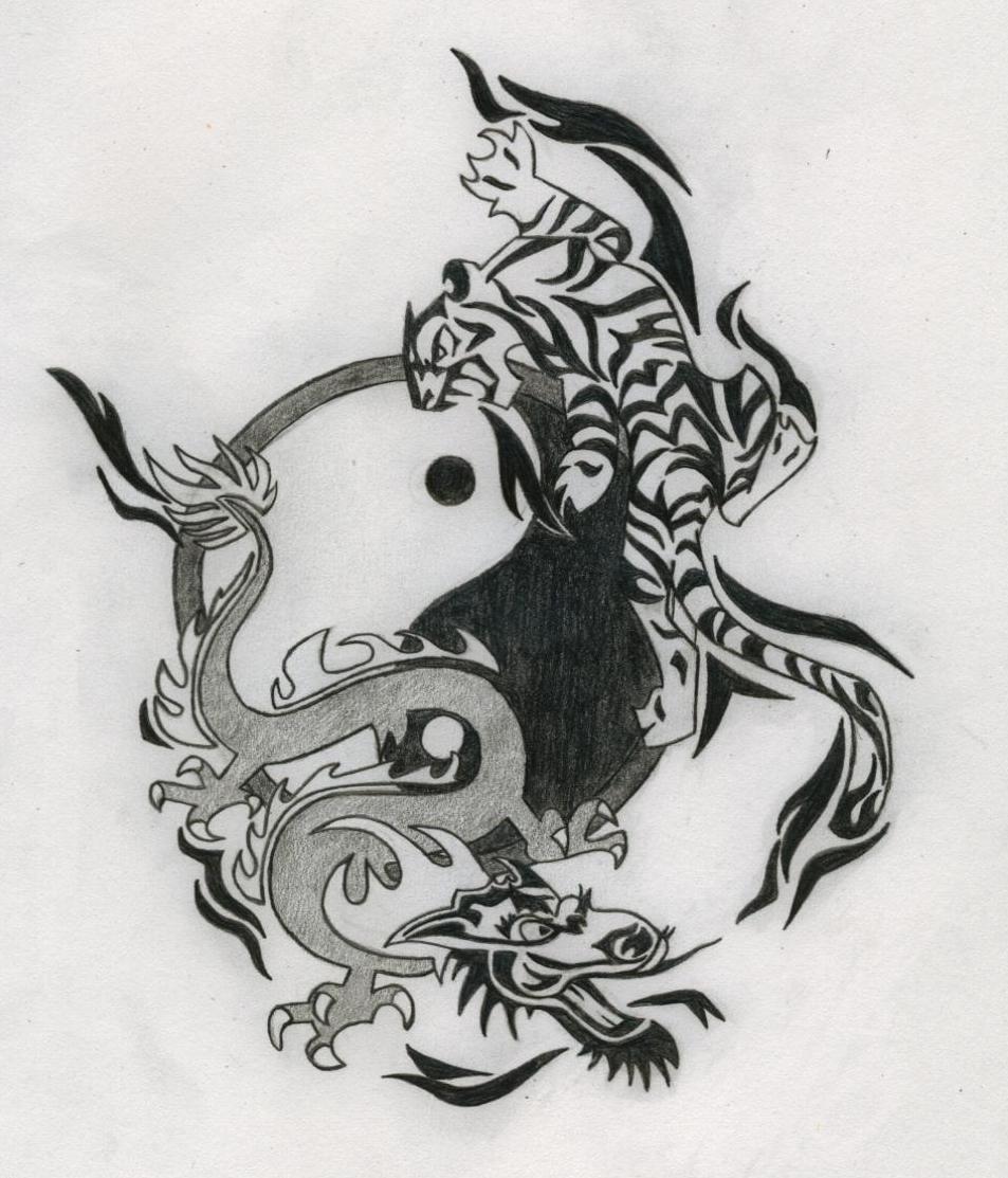 Tiger Dragon Yin and Yang Tattoos