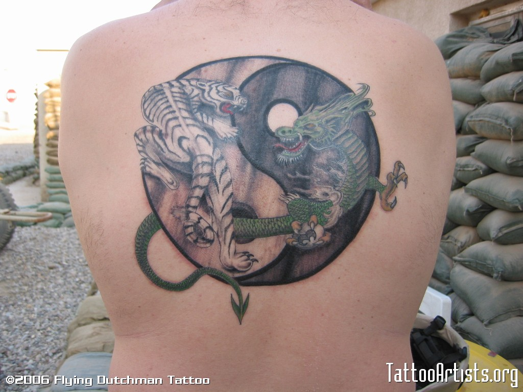 Dragon And Tiger Yin Yang Tattoo On Back