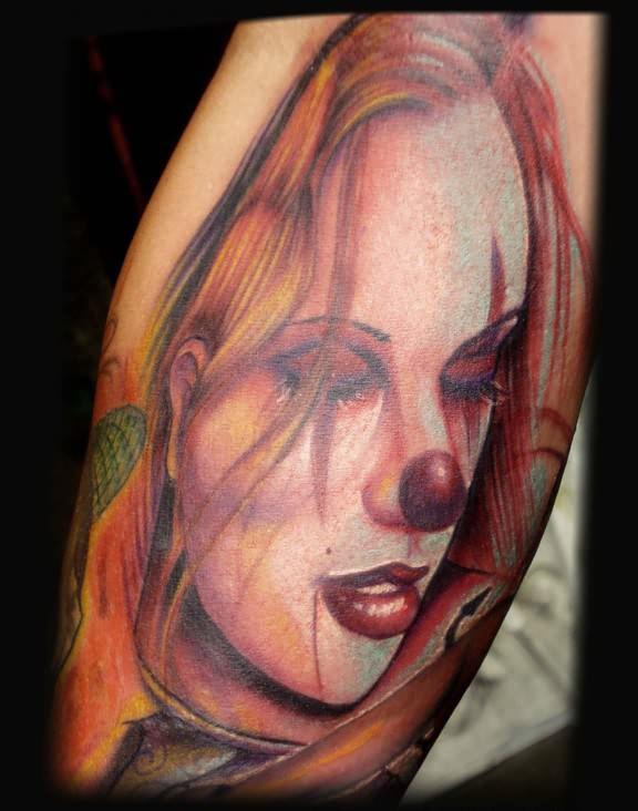 Half Sleeve Clown Girl Tattoo For Men