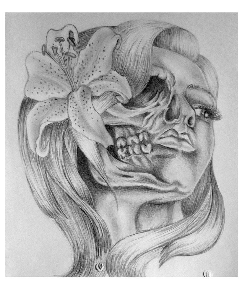 Girl Skull Tattoo Drawing