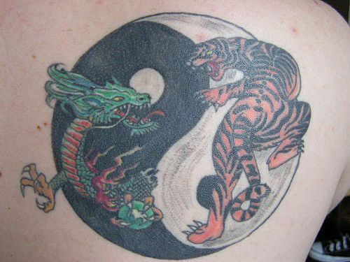 green dragon and tiger yin yang tattoo. Black Bedroom Furniture Sets. Home Design Ideas