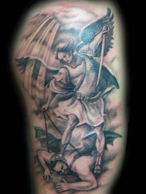 b658fe2d4 Grey Ink Archangel And Devil Tattoo On Half Sleeve