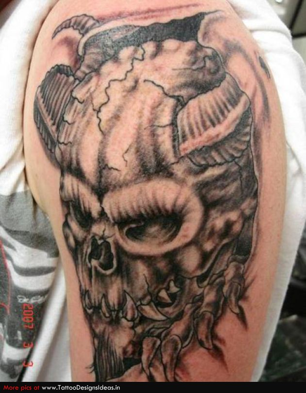 grey ink devil skull tattoo on left half sleeve. Black Bedroom Furniture Sets. Home Design Ideas