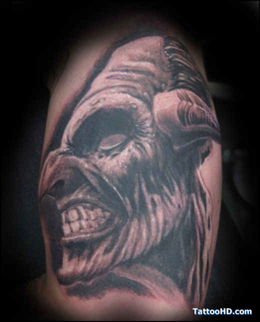 Half sleeve devil head tattoo for Demon half sleeve tattoos