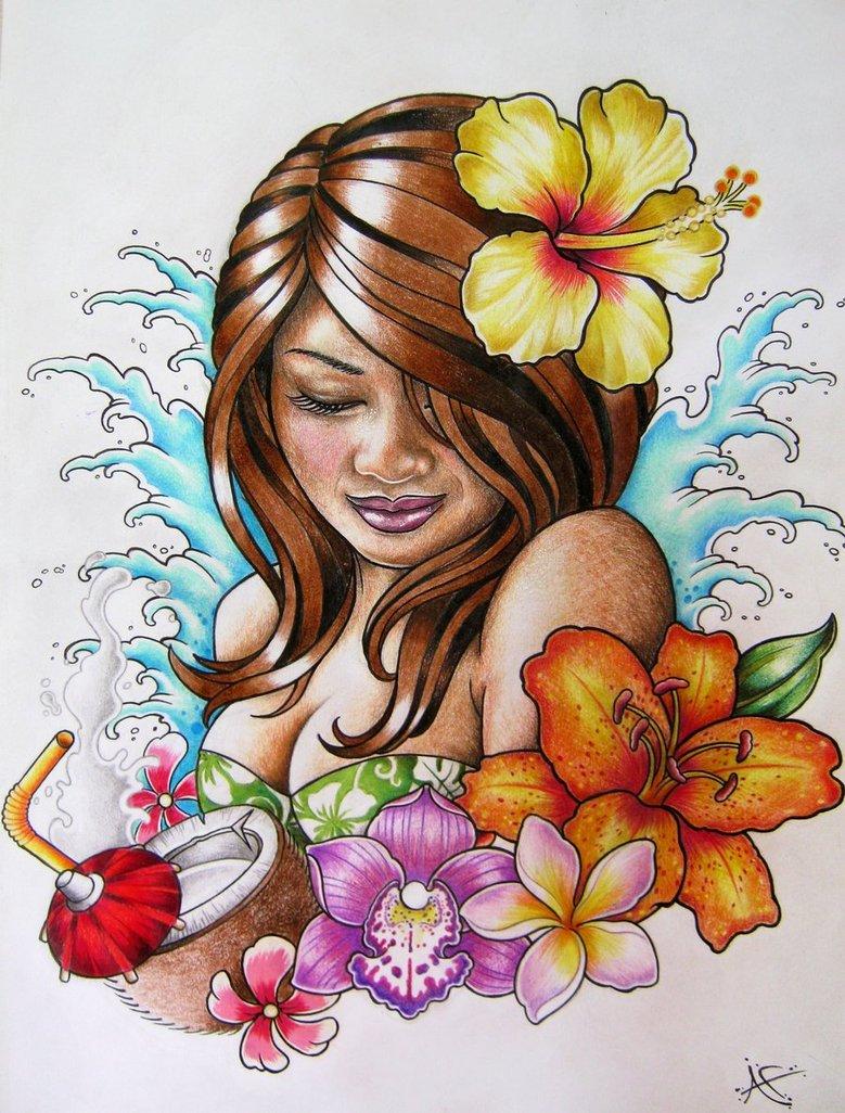 4b8b8f9d4 Hawaiian Hula Girl Tattoo Design