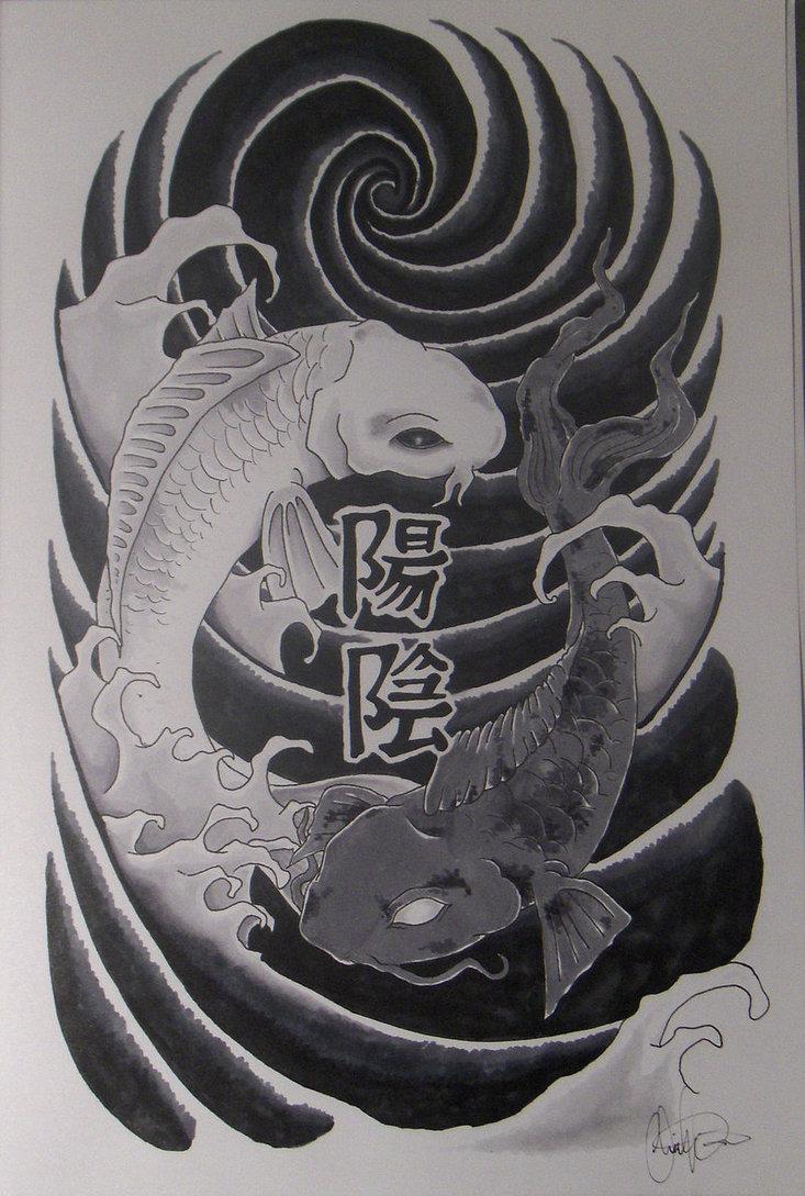 Japanese Koi Yin Yang Tattoo