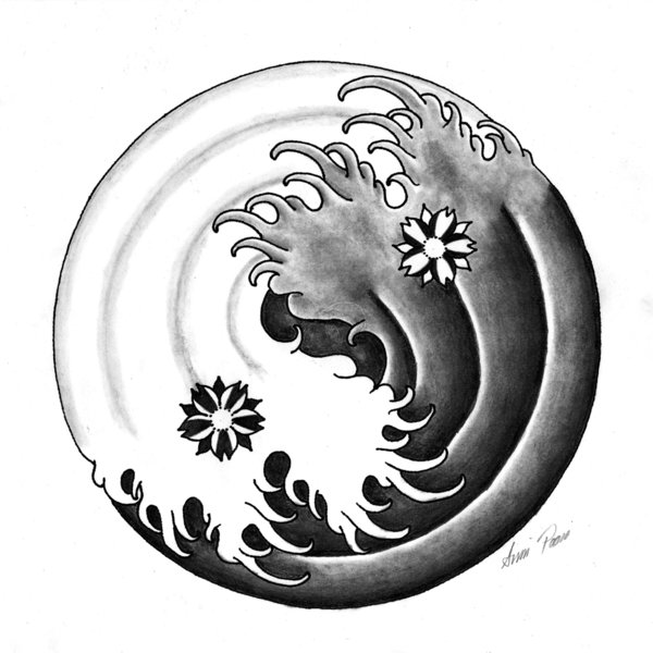 Japanese Yin Yang Tattoo Design