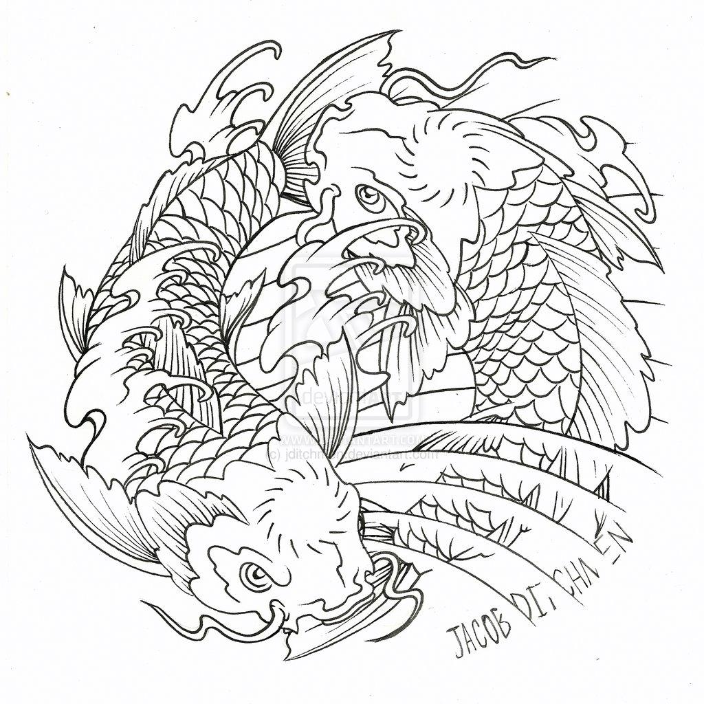 Coloring pages yin yang - Koi Fish Yin Yang Tattoo Designs