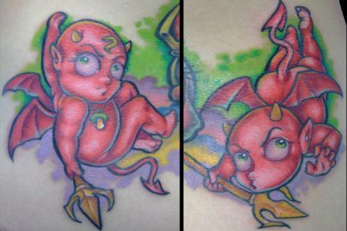Devil tattoo images designs for Small cartoon tattoo designs