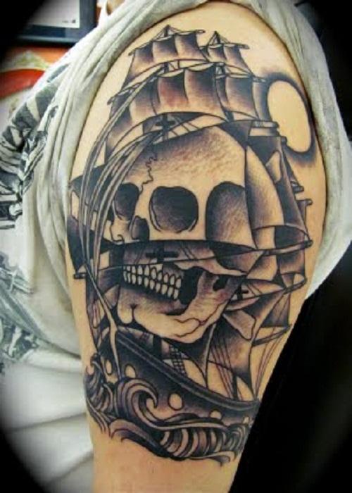 pirate ship and devil tattoo on left half sleeve. Black Bedroom Furniture Sets. Home Design Ideas