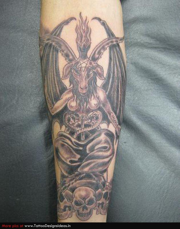 Sleeve Grey Ink Devil Tattoo