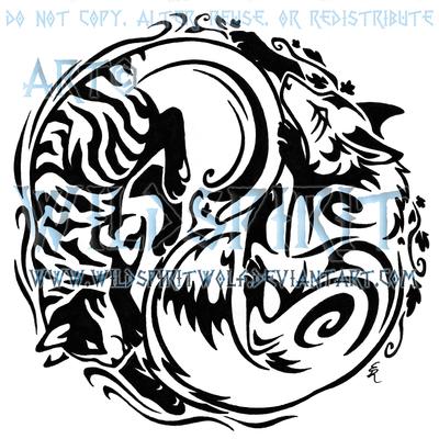 Tribal Cat And Fox Yin Yang Tattoo Design