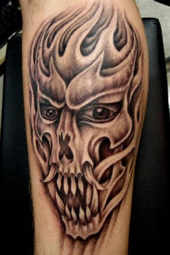 tribal devil skull tattoo on sleeve. Black Bedroom Furniture Sets. Home Design Ideas