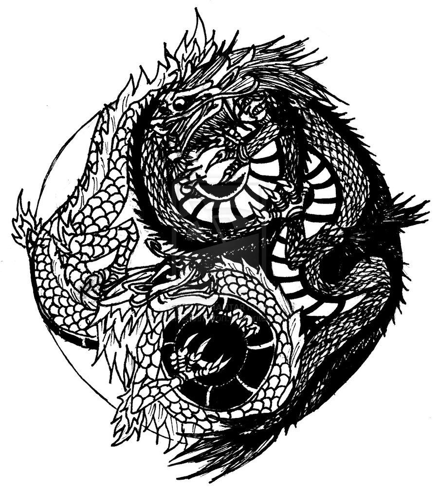 Unique Dragon Yin Yang Tattoo Design