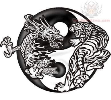 Yin Yang Dragon Tiger Tattoo