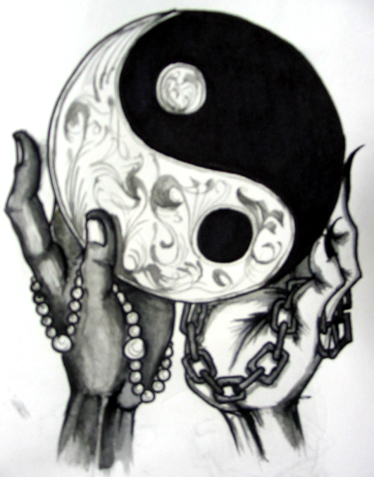 Yin Yang Symbol In Hands Tattoo Design