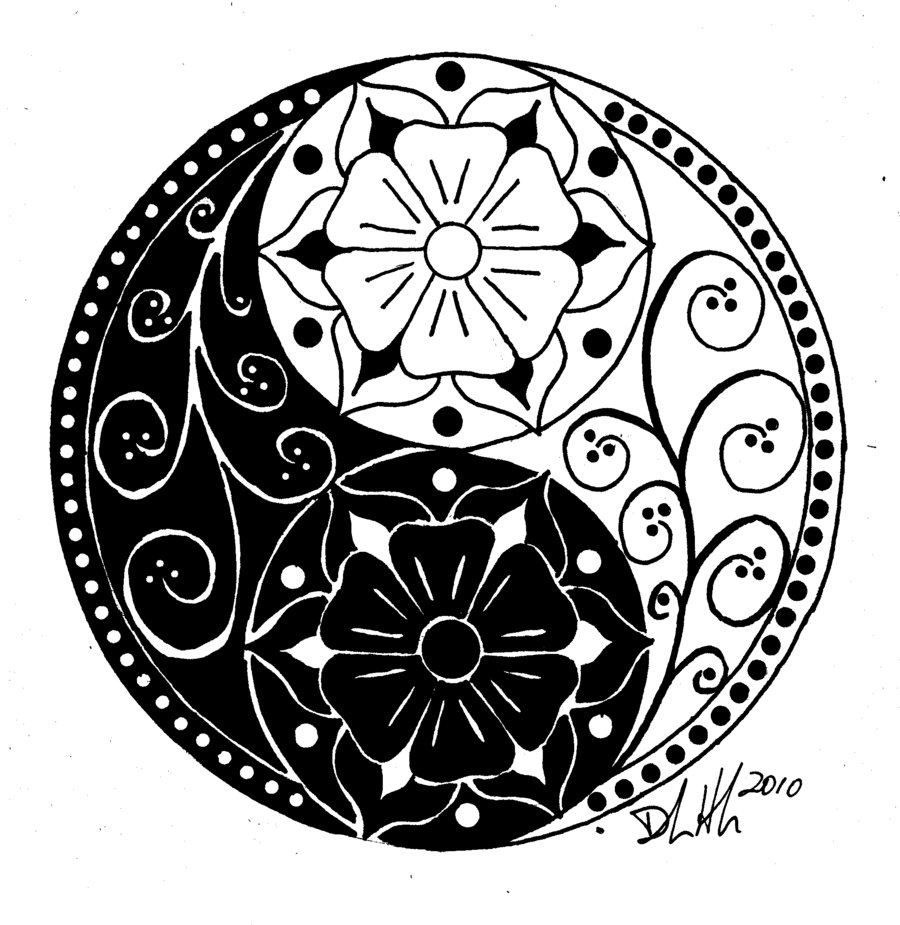 Yin yang tattoo design stencil for Ying yang coloring pages