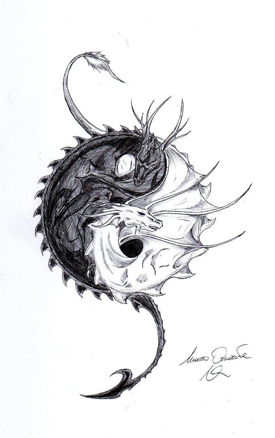 Gallery For gt Yin Yang Dragon Designs
