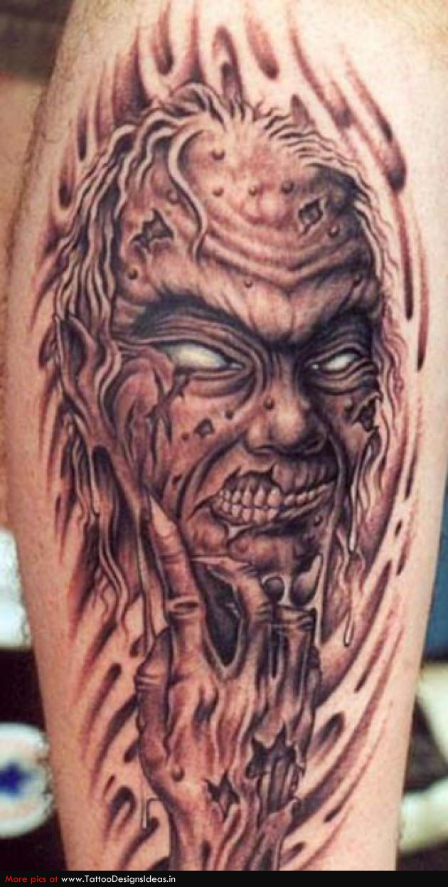 zombie devil head tattoo. Black Bedroom Furniture Sets. Home Design Ideas