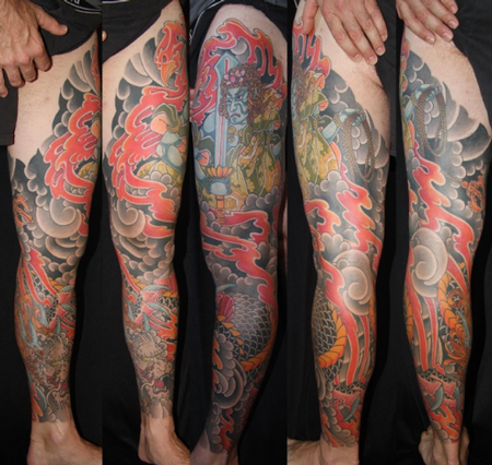 Awesome Colored Japanese Leg Tattoo