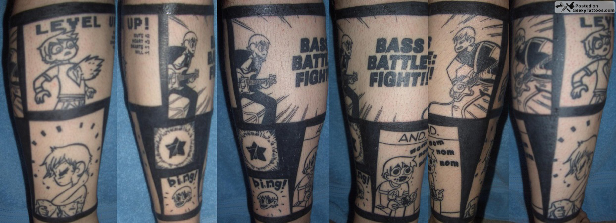 Bass Battle Fight Leg Tattoos