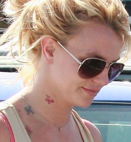 Britney Spears Side Neck Tattoo