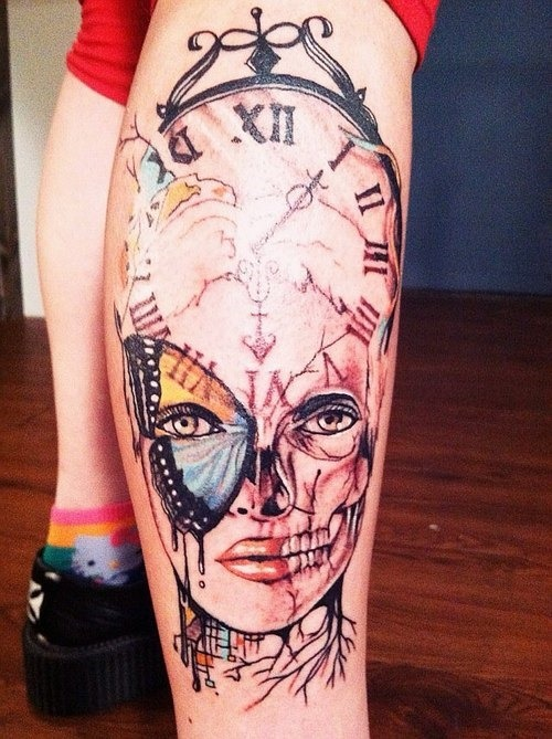 Cool colored clock and girl face leg tattoo for Girl leg tattoos