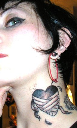 Grey ink heart side neck tattoo for Heart tattoo on neck