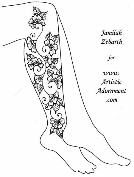 Flower Full Leg Tattoo