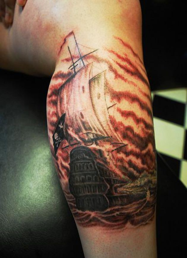 Pirate Ship Leg Tattoo