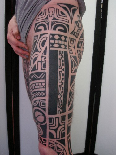 Leg tattoo images designs for Polynesian thigh tattoo
