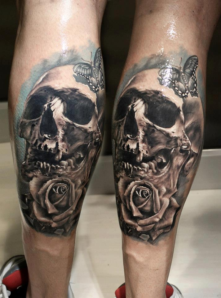 Rose And Skull Thigh Tattoo