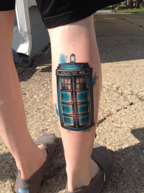 Tardis Back Leg Police Station Leg Tattoo