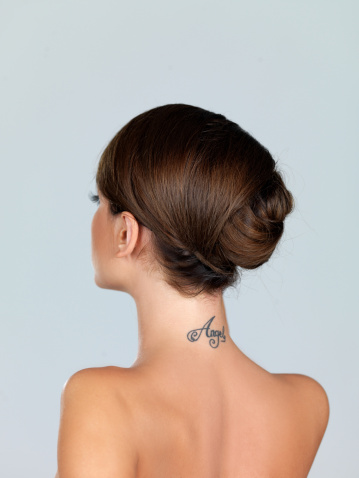 Angel Back Neck Tattoo