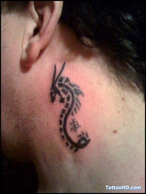 Black Dragon Tattoo On Side Neck