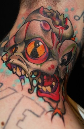 Colored Ink Zombie Neck Tattoo