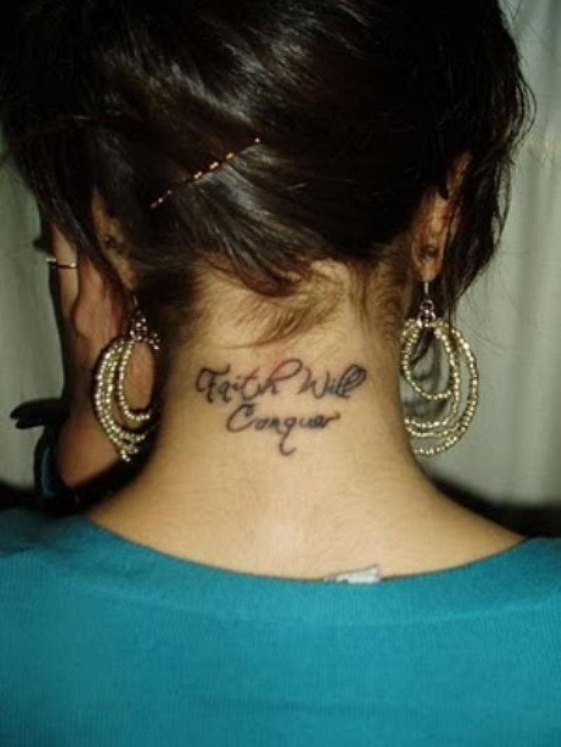 Girl With Back Neck Tattoo For Girls