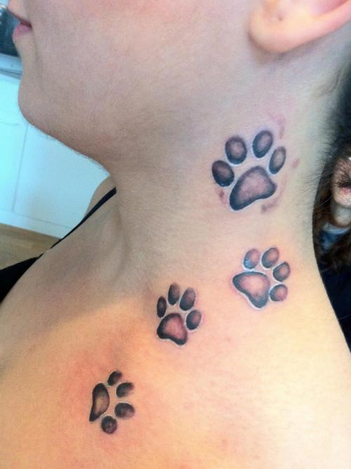 Paw Prints Neck Tattoo
