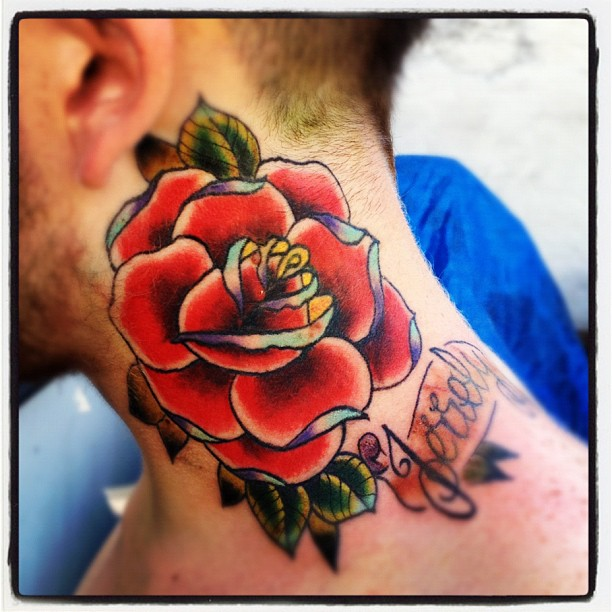 Red Rose Flower Side Neck Tattoo