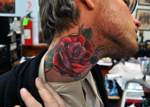 Rose Neck Tattoo
