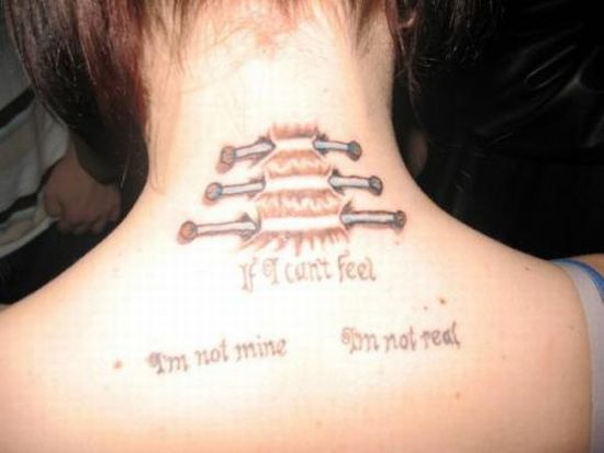 Ripped Skin Nails Back Neck Tattoo