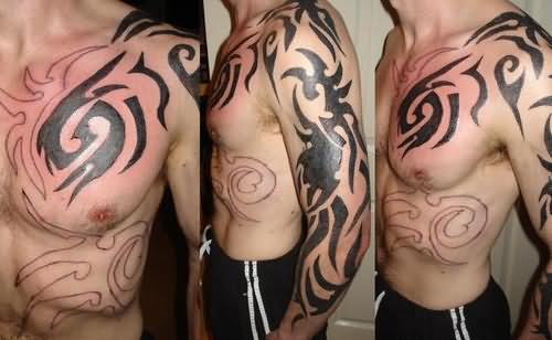 Full Shoulder Tribal Tattoos