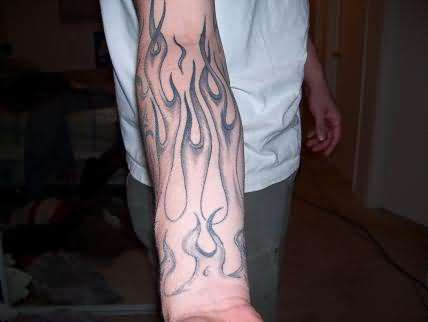 Start Of Flame Sleeve Tattoo