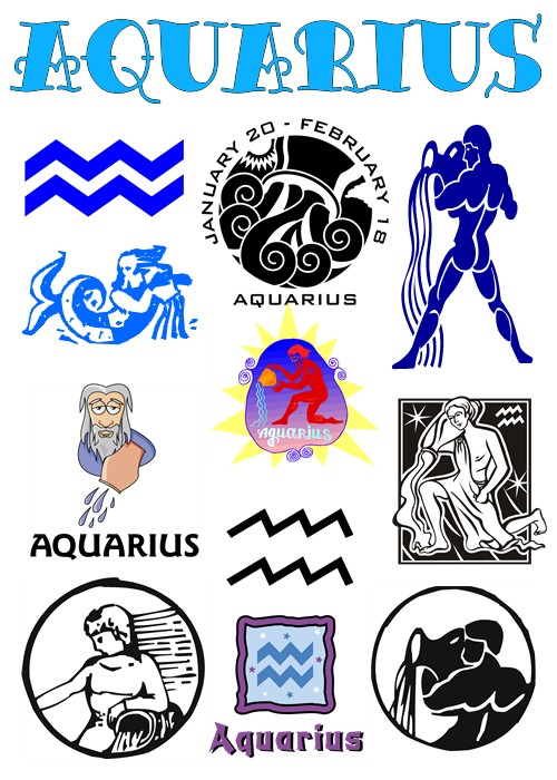 Attractive Aquarius Sun Sign Tattoos Designs