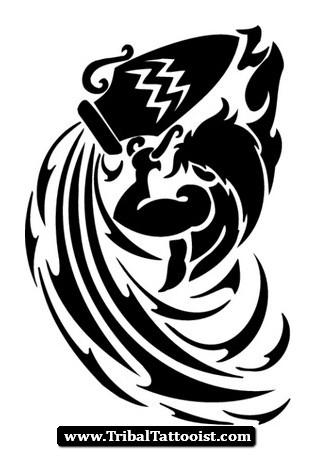 Aquarius Zodiac Tattoo Tribal Awesome Black