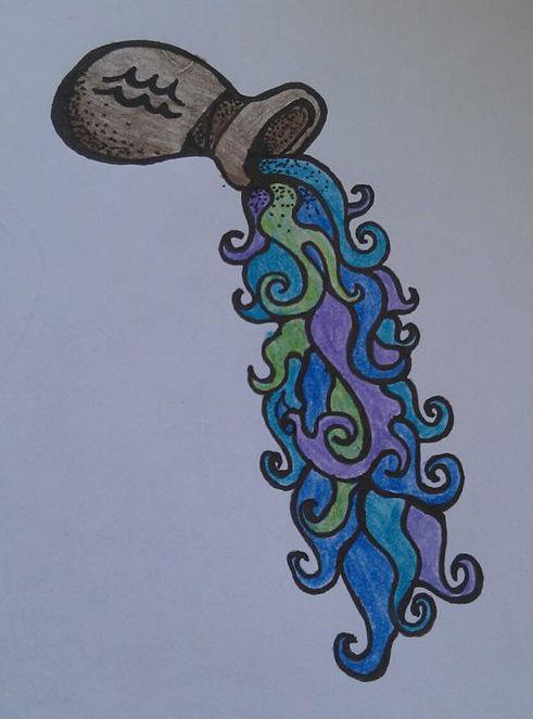 Colored Aquarius Tattoos Design