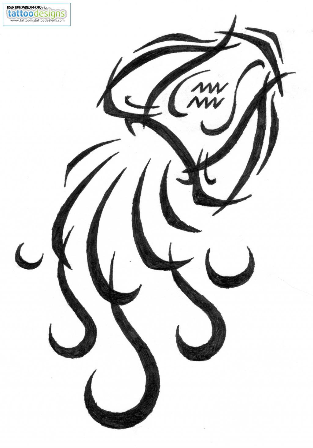 New Black Tribal Aquarius Tattoo Design